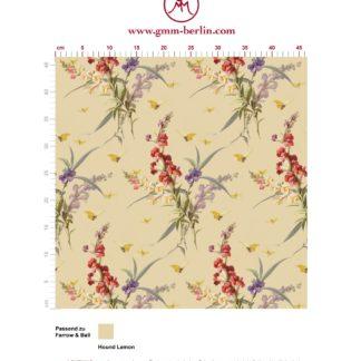 """Edle Vintage Blüten Tapete """"Blissful Spring"""" mit Schmetterlingen auf gelb angepasst an Farrow and Ball Wandfarben. Aus dem GMM-BERLIN.com Sortiment: Schöne Tapeten in creme Farbe"""