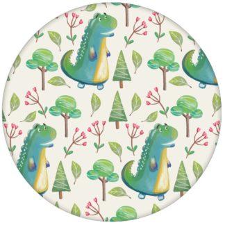 lustige Kindertapete mit kleinen Drachen im Zauberwald auf beige Vliestapete Kinderzimmer