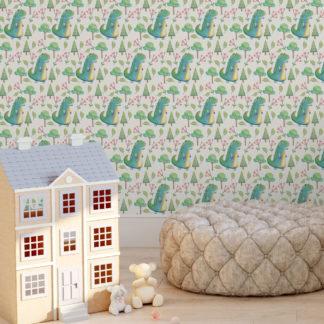 Wandtapete creme: lustige Kinder Tapete mit kleinen Drachen im Zauberwald auf beige angepasst an Farrow and Ball Wandfarben- Vliestapete Figuren
