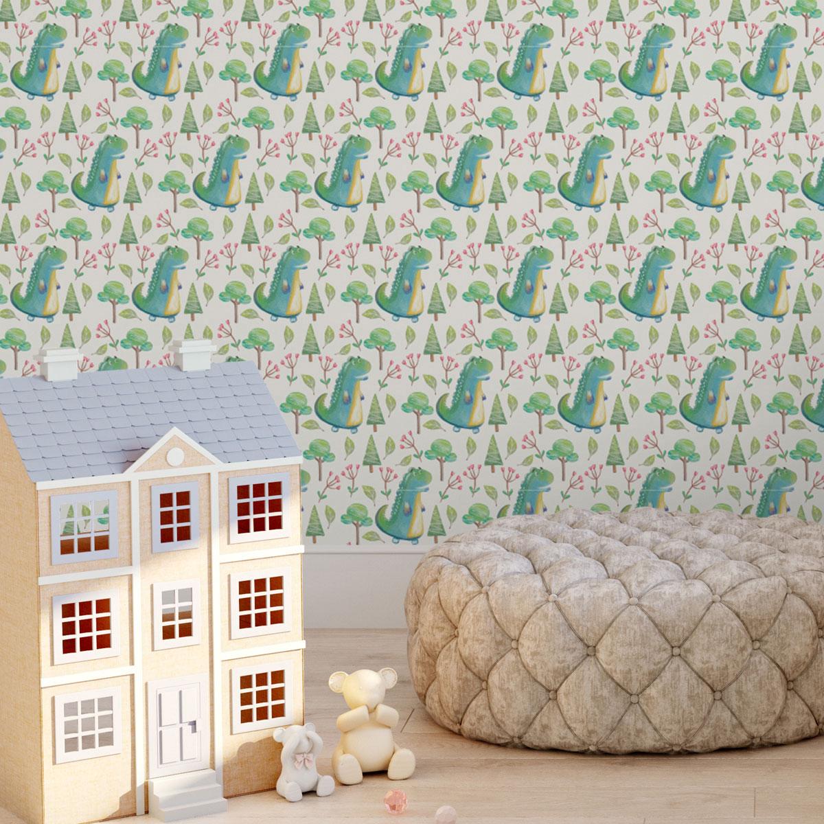 lustige Kinder Tapete mit kleinen Drachen im Zauberwald auf beige angepasst an Farrow and Ball Wandfarben- Vliestapete Figuren