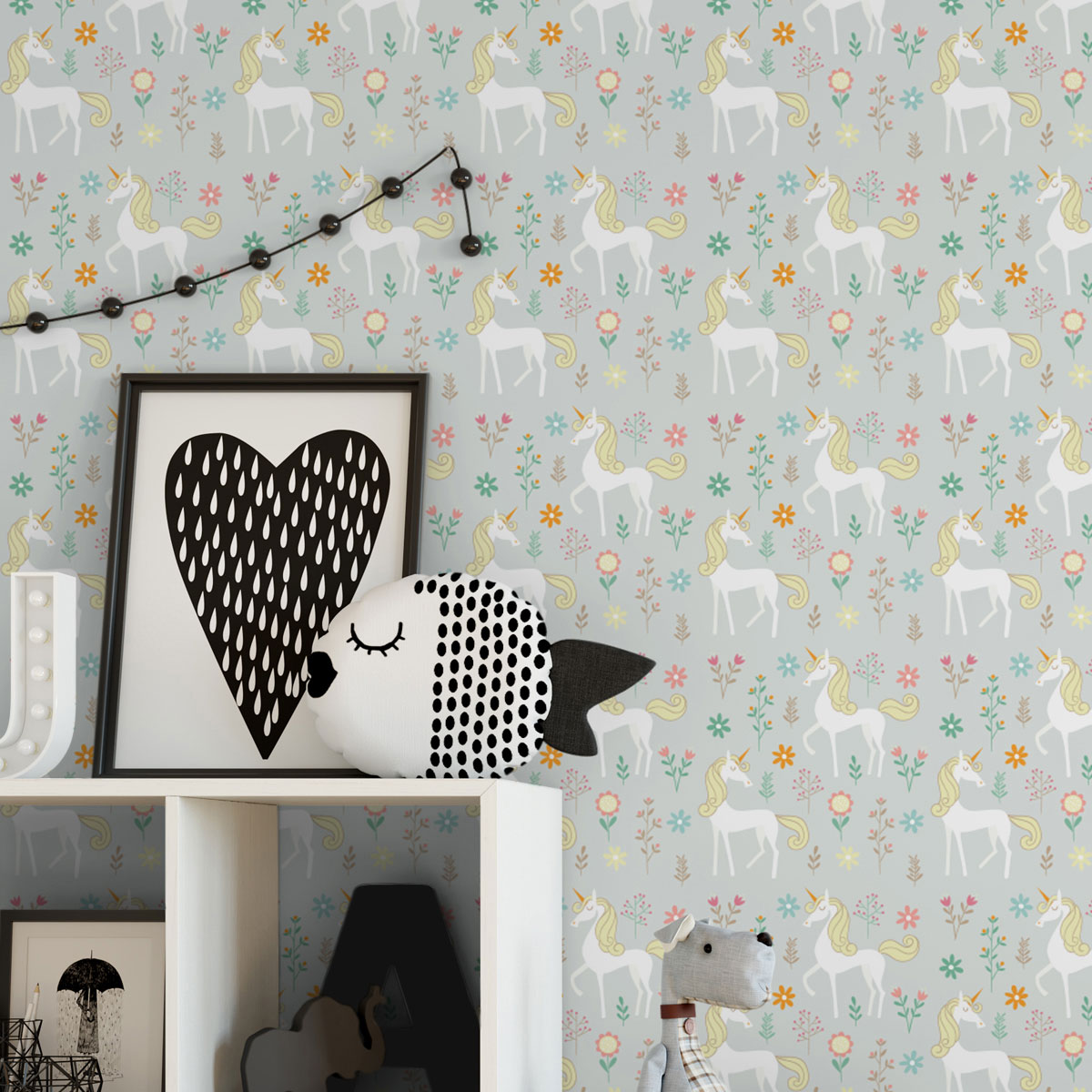 Wandtapete grau: zauberhafte Kinder Traum Tapete mit magischem Einhorn auf grau angepasst an Farrow and Ball Wandfarben- Vliestapete Tiere