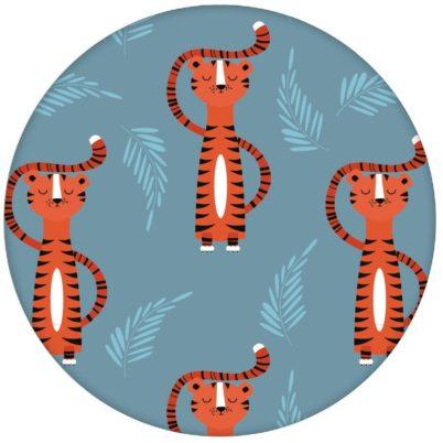 motivierende Kindertapete mit lustigem Sieger Tiger auf blau Vliestapete Tiere Jugendzimmeraus dem GMM-BERLIN.com Sortiment: orange Tapete zur Raumgestaltung: #blau #FarrowandBall #Sieger #tapete #tiere #Tiger für individuelles Interiordesign
