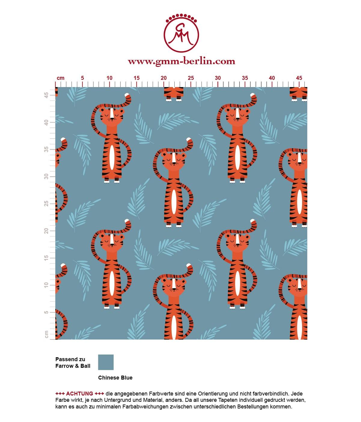 motivierende Kinder Jugend Tapete mit lustigem Sieger Tiger auf blau angepasst an Farrow and Ball Wandfarben. Aus dem GMM-BERLIN.com Sortiment: Schöne Tapeten in der Farbe: Orange