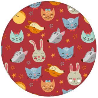 """Coole Kinder Jugendzimmer Tapete """"Space Animals"""" mit Katzen, Hasen, Hunden und Sternen auf rot Vliestapete Tiere"""