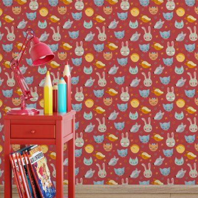 """Coole Kinder Jugend Tapete """"Space Animals"""" mit Katzen, Hasen, Hunden und Sternen auf rot angepasst an Little Greene Wandfarben- Vliestapete Tiere"""