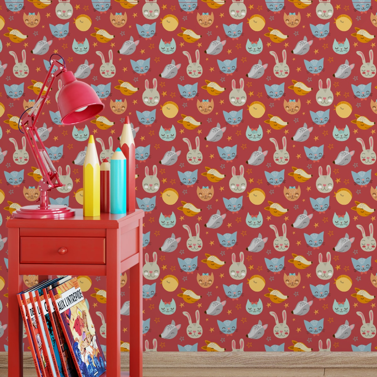 """Jugend Tapete rot: Coole Kinder Jugend Tapete """"Space Animals"""" mit Katzen, Hasen, Hunden und Sternen auf rot angepasst an Little Greene Wandfarben- Vliestapete Tiere"""