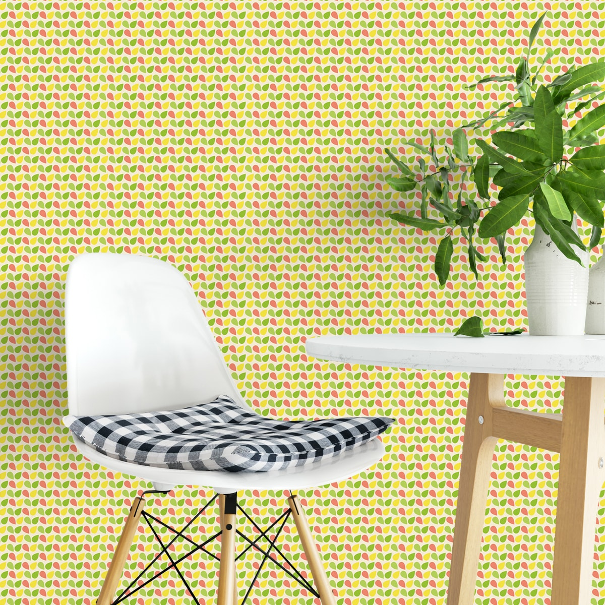 "Wandtapete gelb: Fröhliche kleingemusterte Tropfen Tapete ""Funny Drops"" in grün angepasst an Farrow and Ball Wandfarben- Vliestapete Grafische"