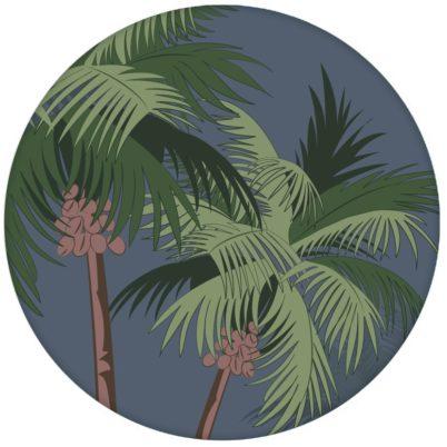 """Üppige Strand Design Tapete """"im Palmenhain"""" mit großen Palmen auf blau Vliestapeten Wandgestaltung"""