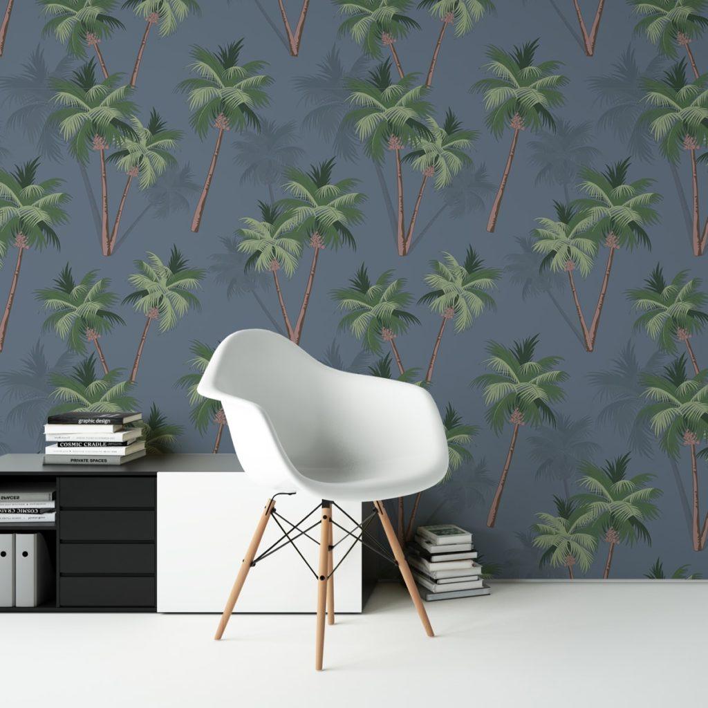"""Üppige Strand Tapete """"im Palmenhain"""" mit großen Palmen auf blau angepasst an Farrow and Ball Wandfarben- Vliestapete Natur, Blumen"""