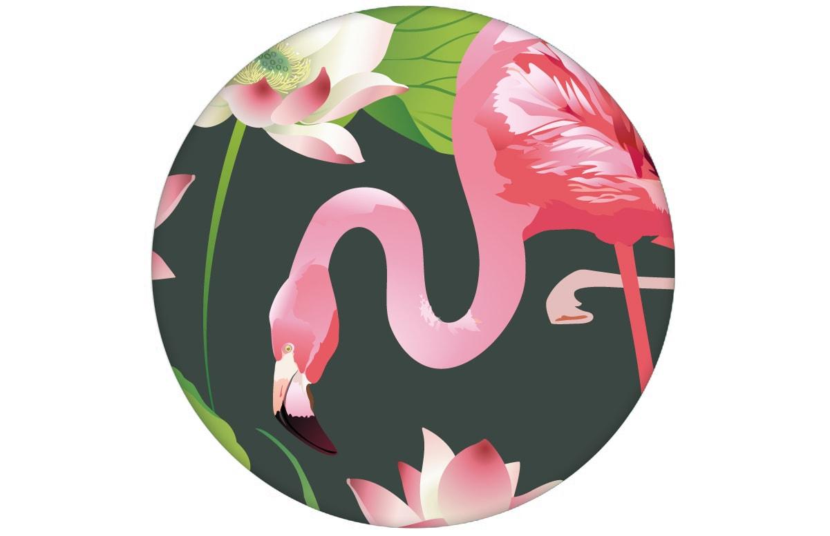 """Extravagante, exotische Tapete """"Flamingo Pool"""" mit Seerosen auf grün Design Vliestapete Tiere, Blumen"""