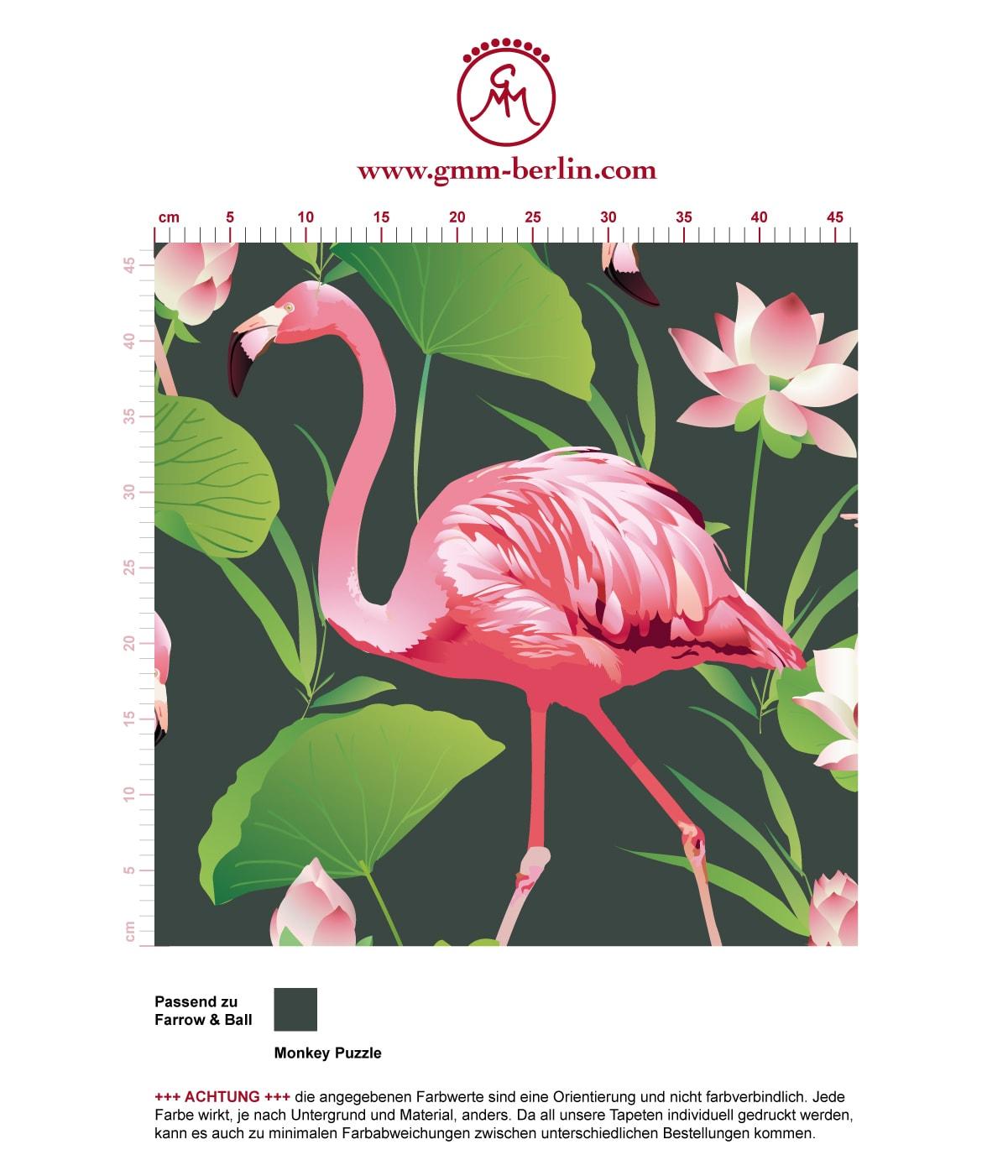 extravagante exotische tapete flamingo pool mit seerosen auf gr n angepasst an farrow and. Black Bedroom Furniture Sets. Home Design Ideas
