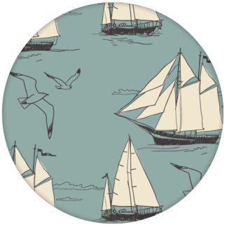 """Maritime Segel Design Tapete """"Die Regatta"""" mit Segelbooten und Möwen auf hellblau Vliestapete Meer"""