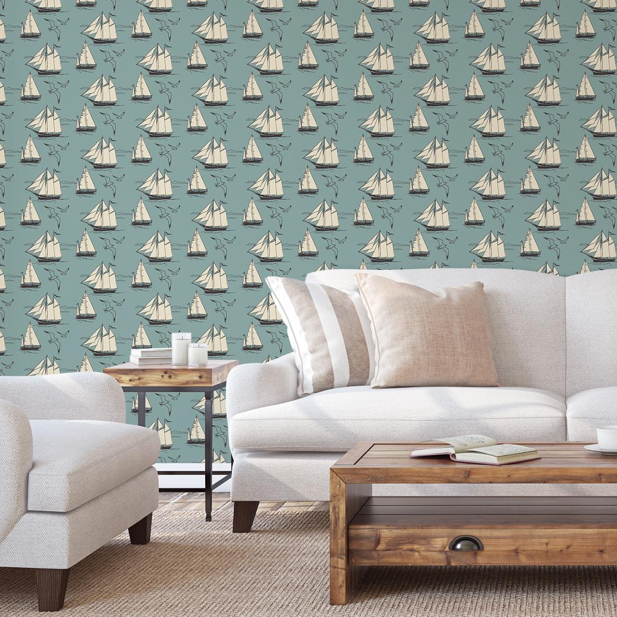 """Klassische Segler Tapete """"Die Regatta"""" mit Segelbooten und Möwen auf hellblau angepasst an Farrow and Ball Wandfarben- Vliestapete Tiere, Kinder"""