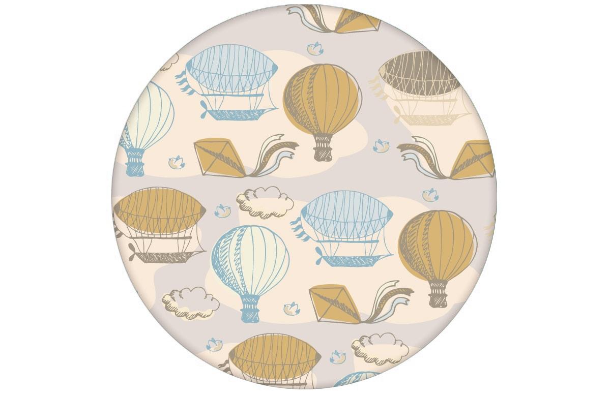 """Traumhafte Design Tapete """"Luftschlösser"""" mit Drachen, Heißluftballons und Wolken in hellblau Vliestapete Wohnzimmer"""