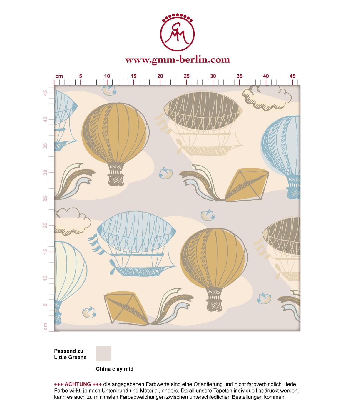 """Traumhafte Tapete """"Luftschlösser"""" mit Drachen, Heißluftballons und Wolken in hellblau angepasst an Little Greene Wandfarben- Vliestapete Figuren  3"""