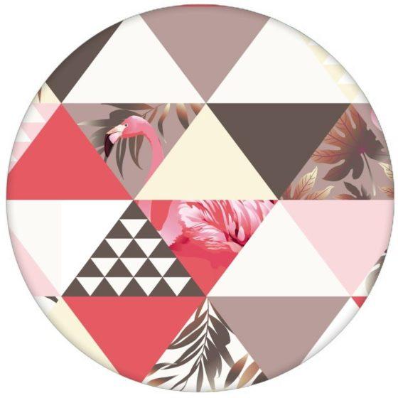 """""""Flamingo Puzzle"""" - Exotische moderne Tapete mit grafischen Dreiecken rosa Wandgestaltung Vliestapete grafisch"""