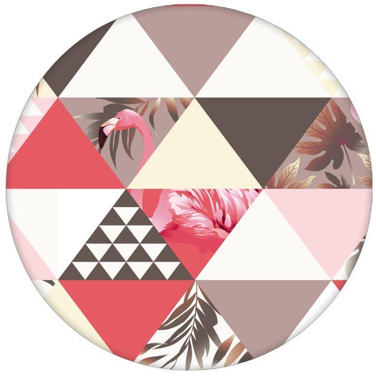 """""""Flamingo Puzzle""""  - Exotische moderne Tapete mit grafischen Dreiecken rosa Wandgestaltung Vliestapete grafisch aus den Tapeten Neuheiten Exklusive Tapete für schönes Wohnen als Naturaltouch Luxus Vliestapete oder Basic Vliestapete"""