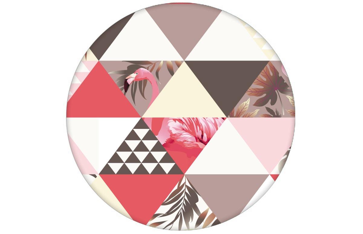 """""""Flamingo Puzzle""""  - Exotische moderne Tapete mit grafischen Dreiecken in rosa angepasst an Farrow and Ball Wandfarben- Vliestapete Grafisch"""