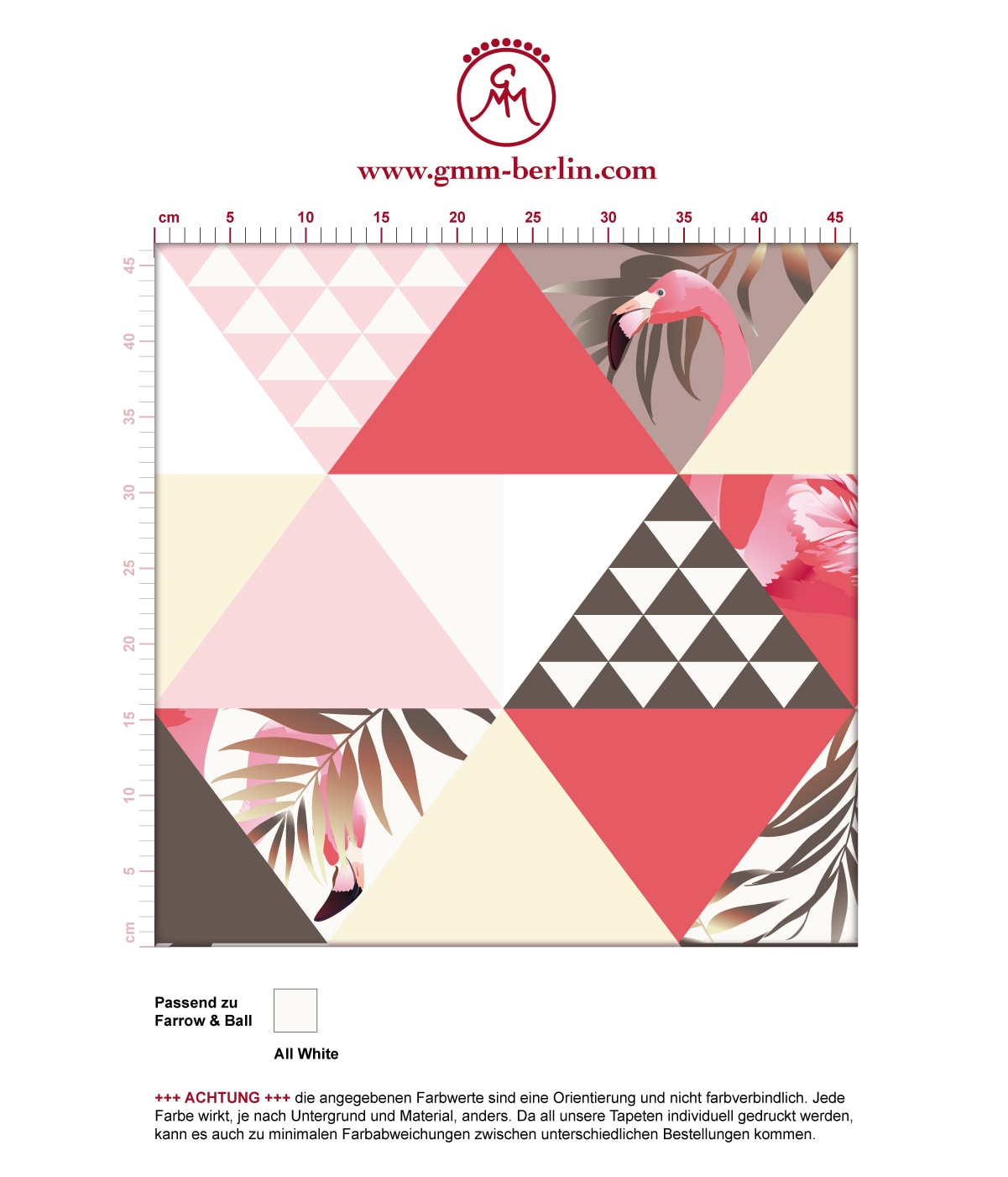 """""""Flamingo Puzzle""""  - Exotische moderne Tapete mit grafischen Dreiecken in rosa angepasst an Farrow and Ball Wandfarben- Vliestapete Grafisch  3"""