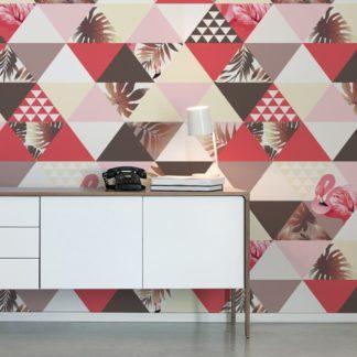 """Wandtapete dunkel braun: """"Flamingo Puzzle""""  - Exotische moderne Tapete mit grafischen Dreiecken in rosa angepasst an Farrow and Ball Wandfarben- Vliestapete Grafisch"""
