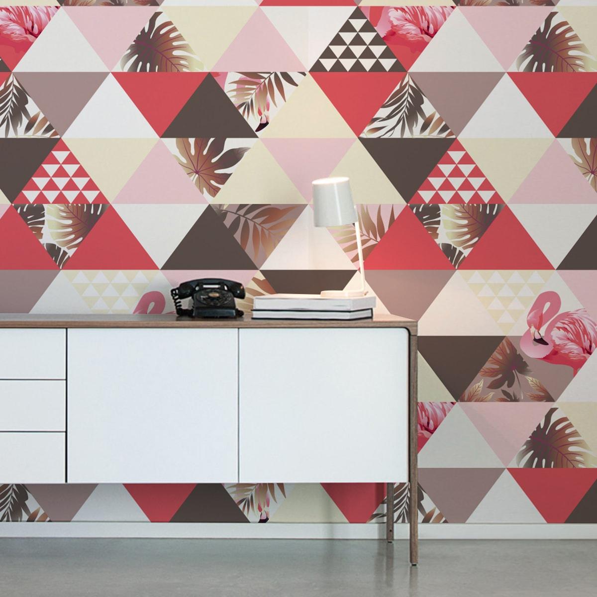 """""""Flamingo Puzzle""""  - Exotische moderne Tapete mit grafischen Dreiecken in rosa angepasst an Farrow and Ball Wandfarben- Vliestapete Grafisch  2"""