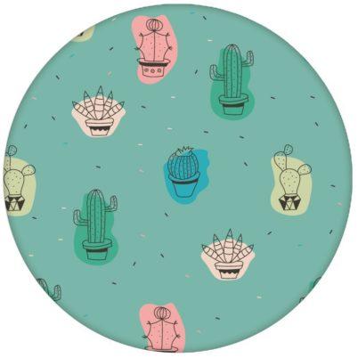 """Lustige Design Tapete """"Wüstenzauber"""" mit bunten Kakteen auf türkis Vliestapete Kaktus - Moderne Wandgestaltung"""