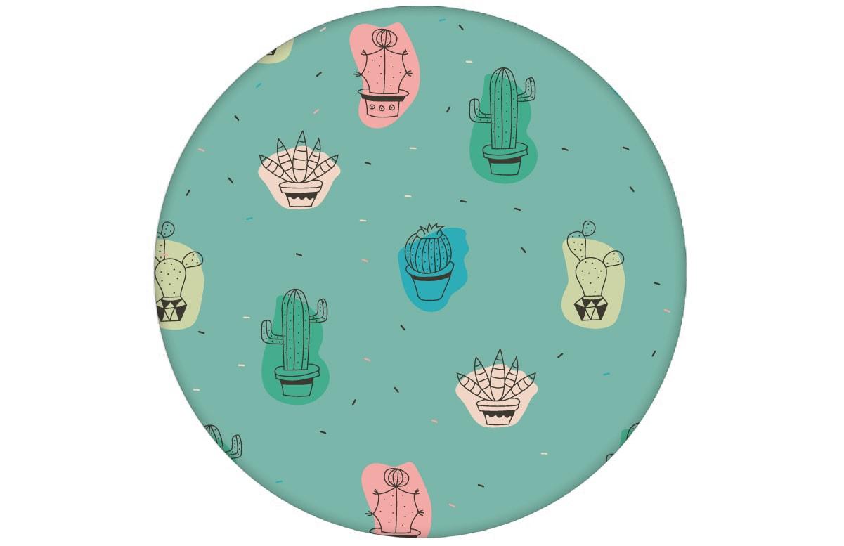 """Lustige Designer Tapete """"Wüstenzauber"""" mit bunten Kakteen auf türkis angepasst an Little Greene Wandfarben- Vliestapete Blumen - Moderne Zimmer Wanddeko - GMM Design Tapete - Wandtapete - Wand Dekoration für edle Wohnakzente (Muster 20 x 46,5cm)"""