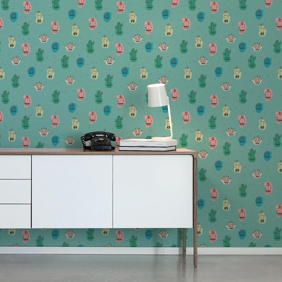 Wandtapete grün: Lustige Designer Tapete