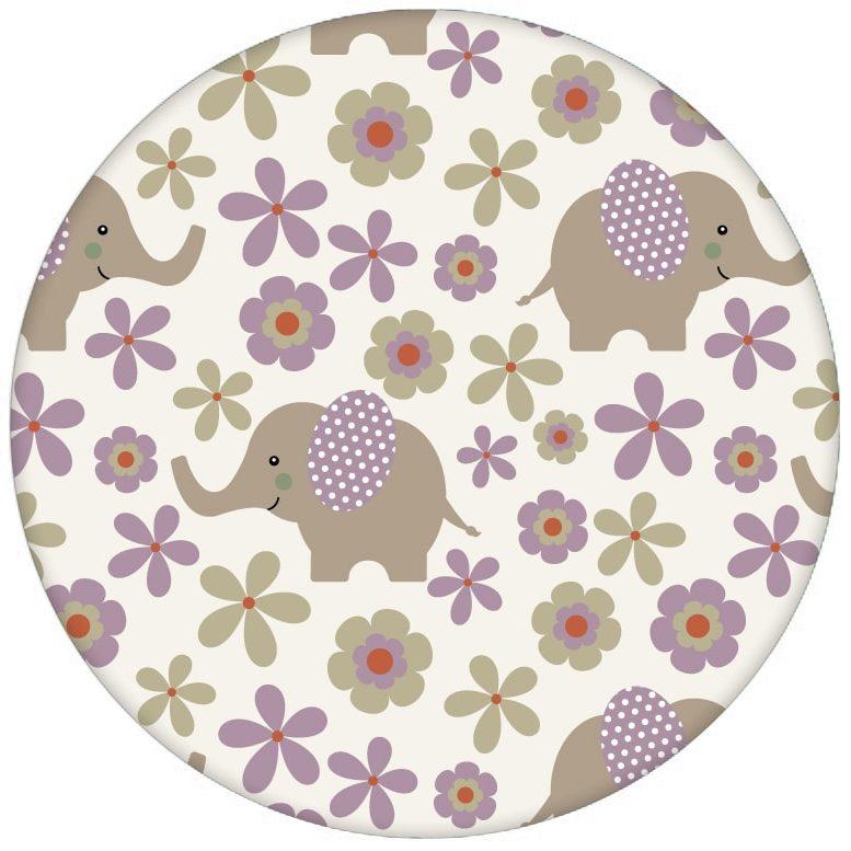 """Süße Kinderzimmer Baby Tapete """"Elephant Power"""" mit Blumen und Elefanten im 70er Jahre Stil in lila Vliestapete Wandgestaltung"""
