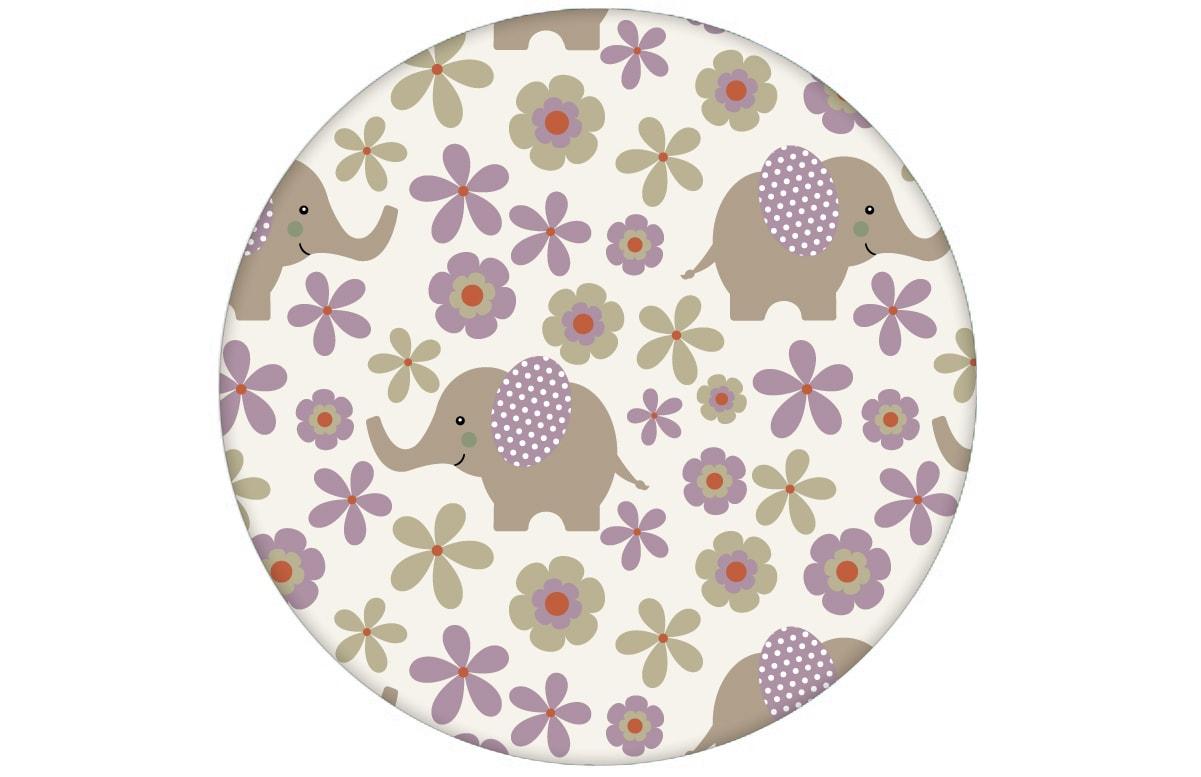 """Süße Kinder Baby Tapete """"Elephant Power"""" mit Blumen und Elefanten im 70er Jahre Stil in lila angepasst an Farrow and Ball Wandfarben- Vliestapete Tiere"""