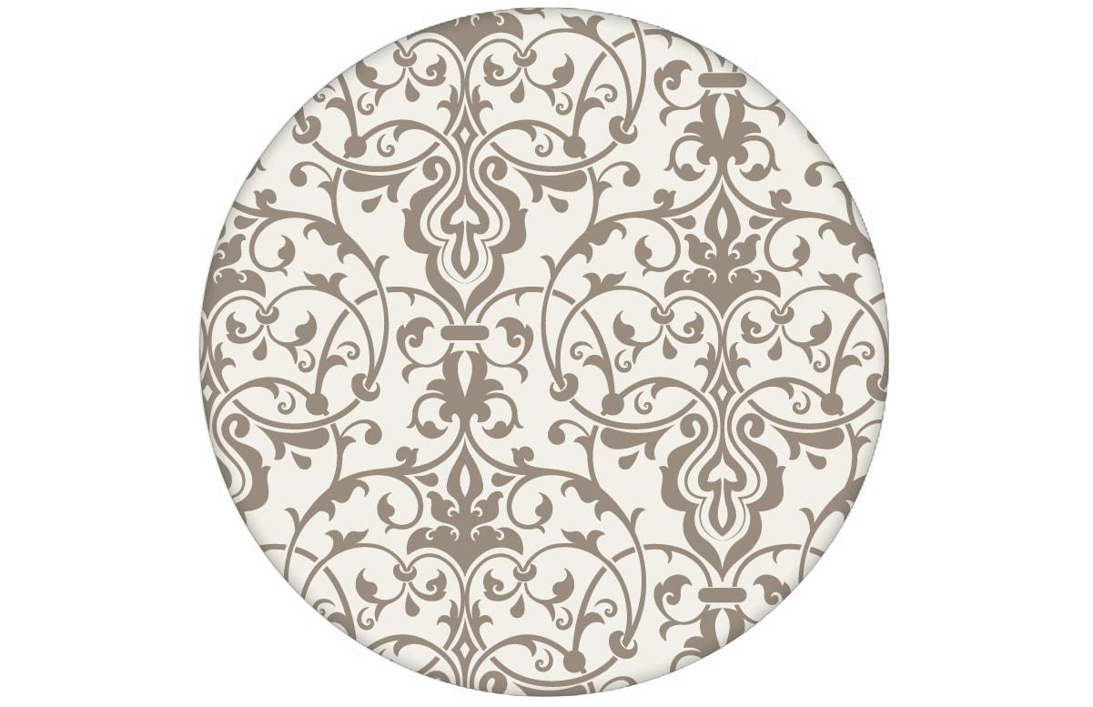 Dezent üppige Ornament Tapete mit klassischem Damast Muster auf grau Vliestapete für Wohnzimmer