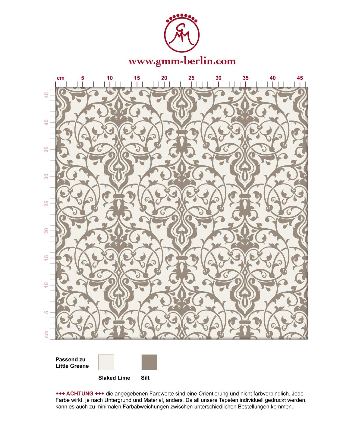 Dezent üppige Tapete mit klassischem Damast Muster auf grau angepasst an Little Greene Wandfarben- Vliestapete Ornamente  3