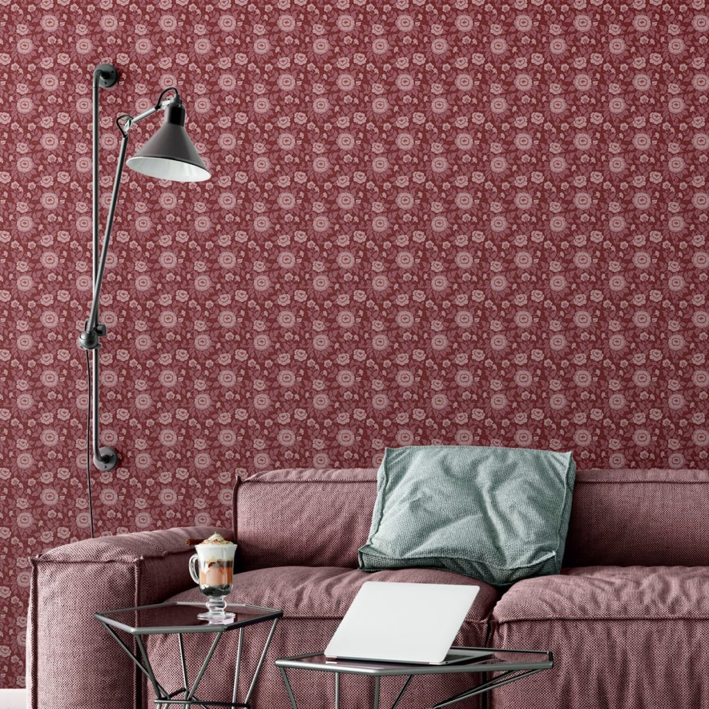 "Edle florale Tapete ""Mein Rosengarten"" mit Rosen Blüten in rot angepasst an Farrow and Ball Wandfarben- Vliestapete Blumen"