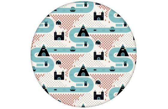 """Moderne Trend Design Tapete """"Weltenbummler"""" mit Strassen, Burgen und Pyramiden Vliestapete Kinder Büro Schlafzimmer"""