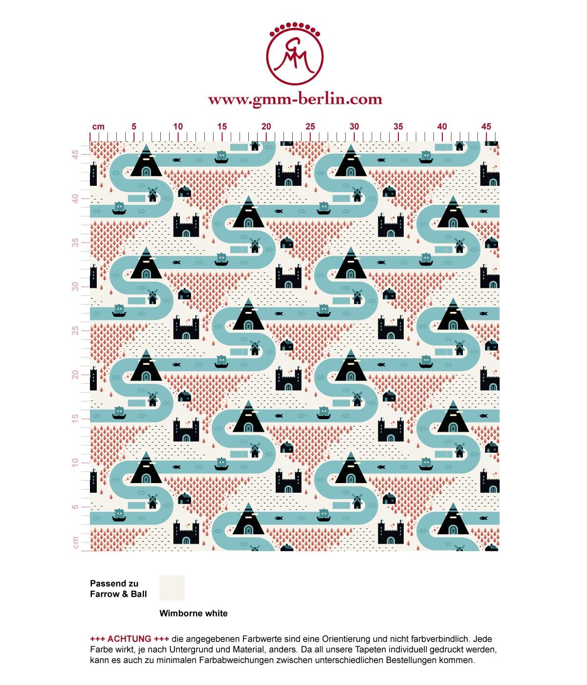 """Moderne Trend Tapete """"Weltenbummler"""" mit Strassen, Burgen und Pyramiden auf weiß angepasst an Farrow and Ball Wandfarben- Vliestapete Kinder"""