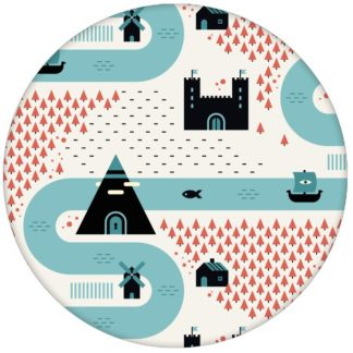 """""""Weltenbummler"""" - Trend Design Tapete großes Muster mit Strassen, Burgen und Pyramiden Vliestapete für Kinder Büro Schlafzimmer"""