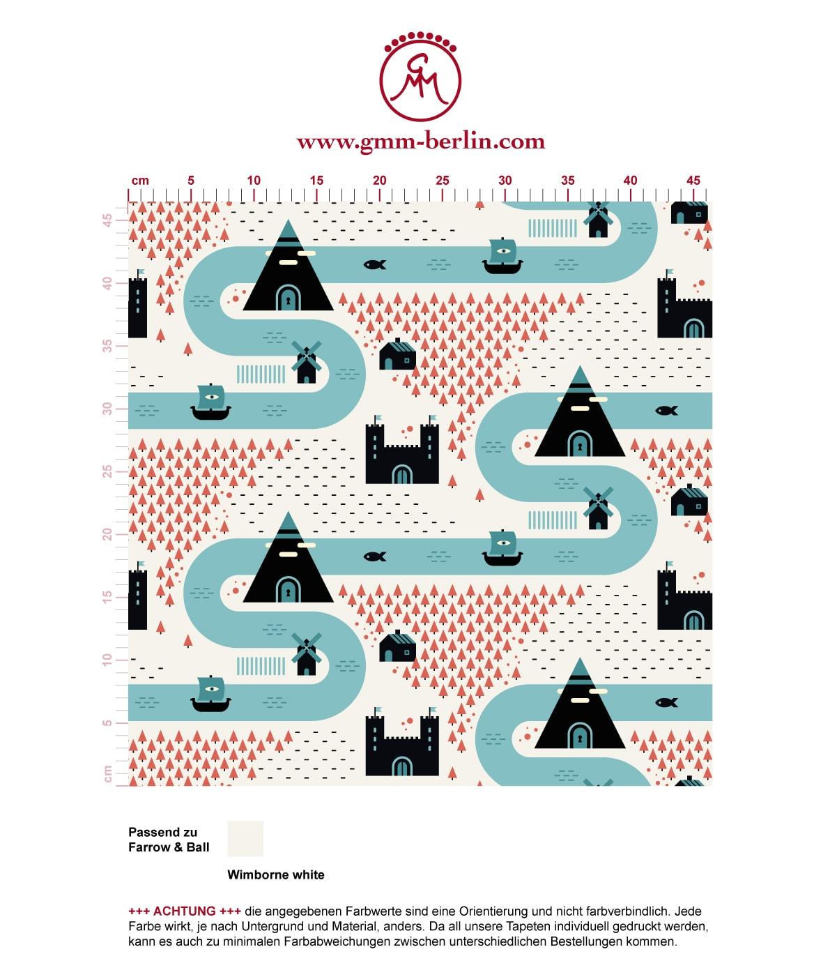 """""""Weltenbummler"""" - Trend Tapete großes Muster mit Strassen, Burgen und Pyramiden auf weiß angepasst an Farrow and Ball Wandfarben- Vliestapete Kinder"""