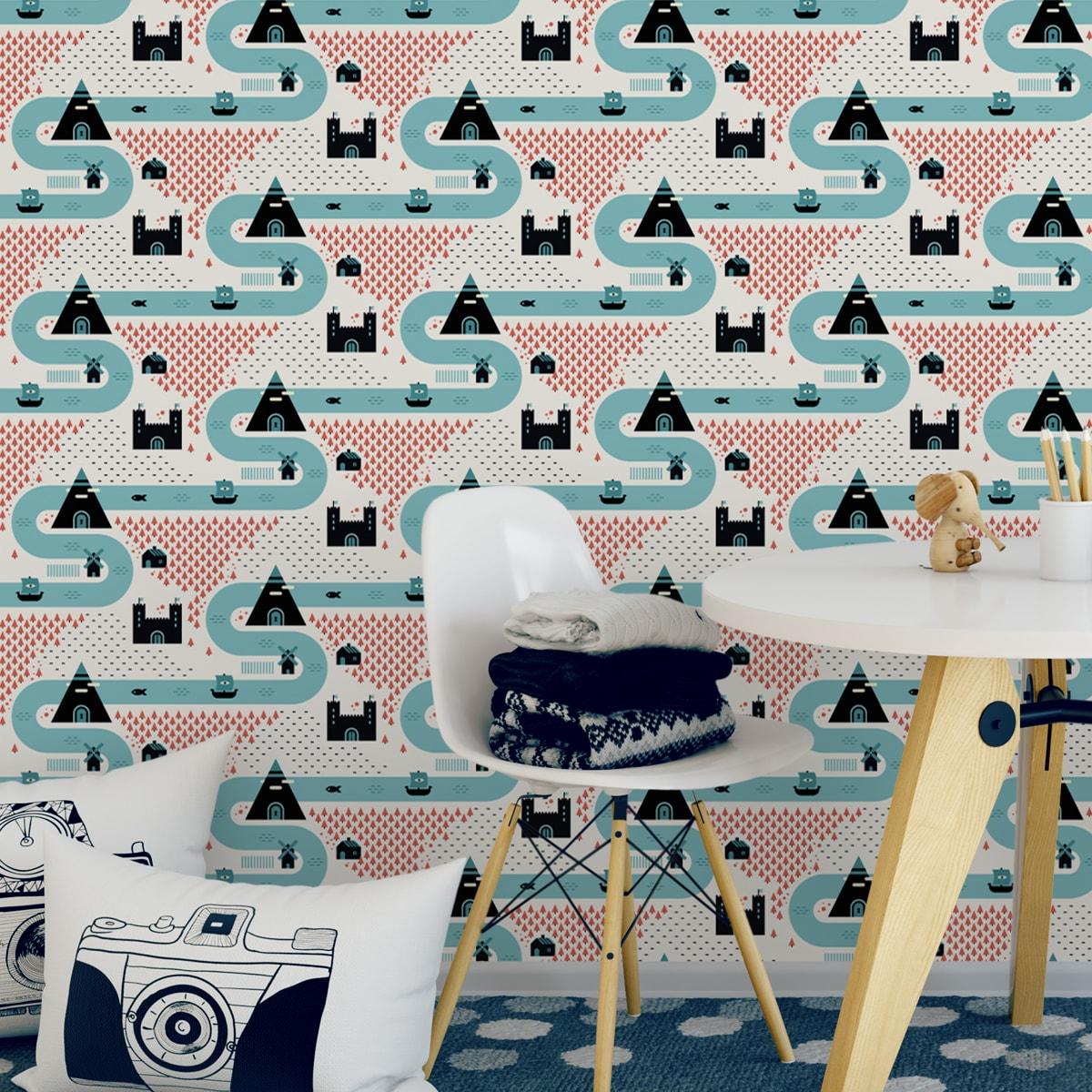 """Wandtapete creme: """"Weltenbummler"""" - Trend Tapete großes Muster mit Strassen, Burgen und Pyramiden auf weiß angepasst an Farrow and Ball Wandfarben- Vliestapete Kinder"""