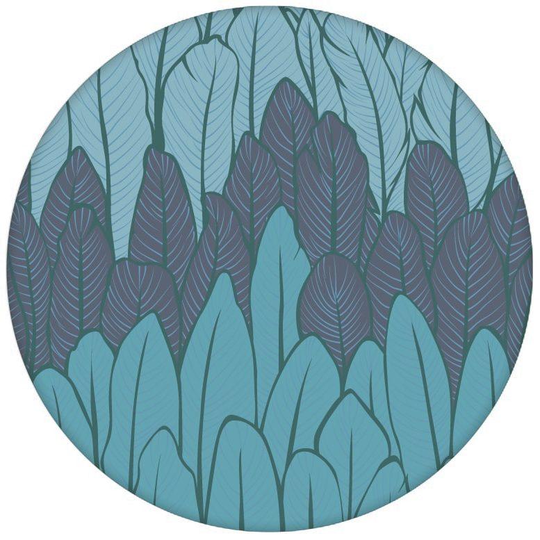 Boho Streifentapete mit Federn in blau Tönen Vlies Tapete Streifen