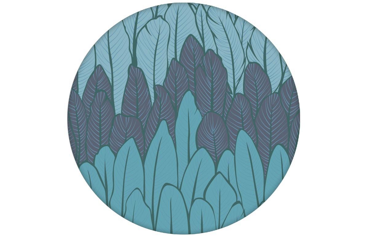 Boho Streifentapete mit Federn in blau Tönen angepasst an Little Greene Wandfarben - Vlies Tapete Streifen