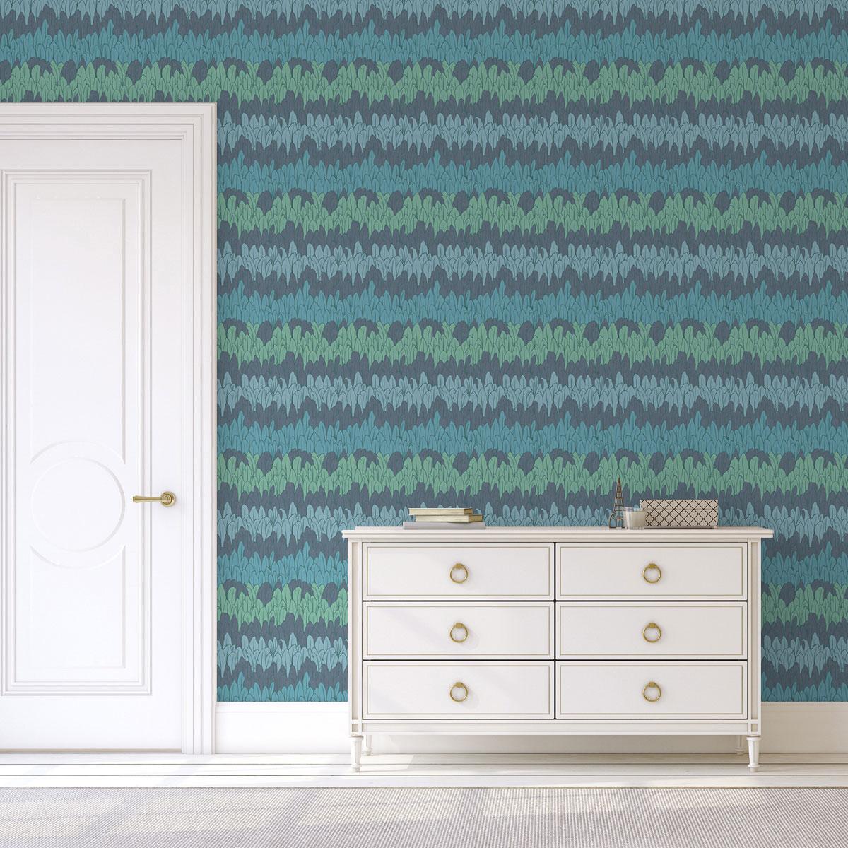 wandfarben streifen, boho streifentapete mit federn in blau wohnzimmer | gmm-berlin, Design ideen