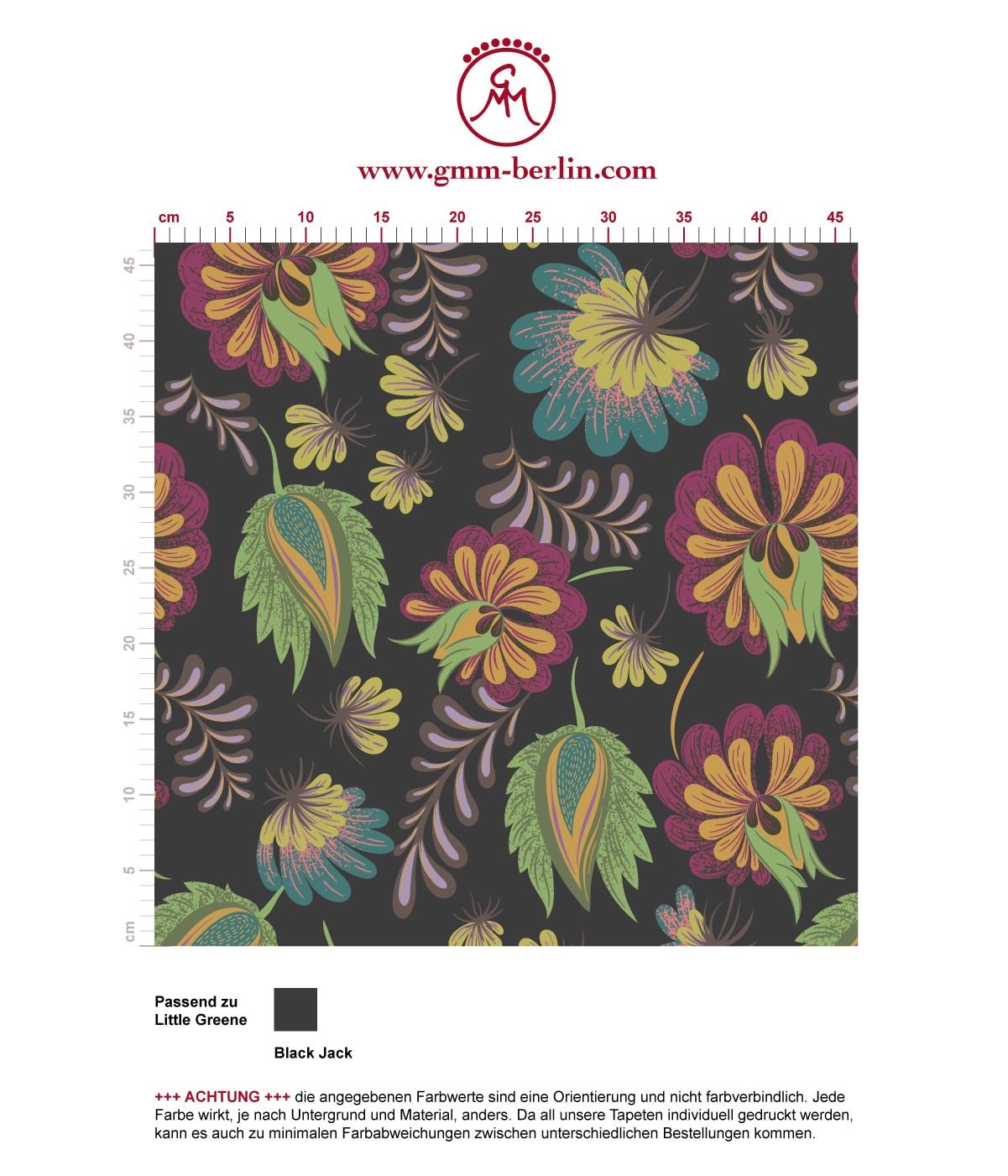 Ausgesprochen edle Tapete mit großen Blüten in grau grün angepasst an Little Greene Wandfarbe. Aus dem GMM-BERLIN.com Sortiment: Schöne Tapeten in der Farbe: grün