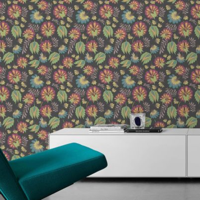 Ausgesprochen edle Tapete mit großen Blüten in grau grün angepasst an Little Greene Wandfarbe - Vliestapete Blumen