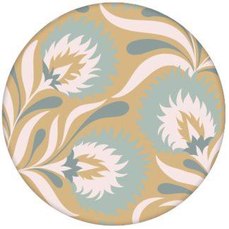 Florale Jugendstil Tapete mit großen Blüten in beige hellblau Vliestapete Blumen für Schlafzimmer aus den Tapeten Neuheiten Blumentapeten und Borten als Naturaltouch Luxus Vliestapete oder Basic Vliestapete
