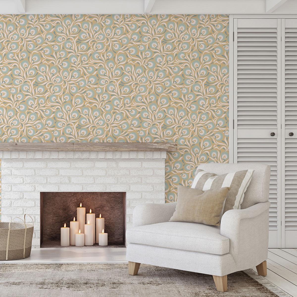 Wohnzimmer Tapete creme: Florale Jugendstil Tapete mit großen Blüten in beige hellblau angepasst an Farrow & Ball Wandfarben - Vliestapete Blumen