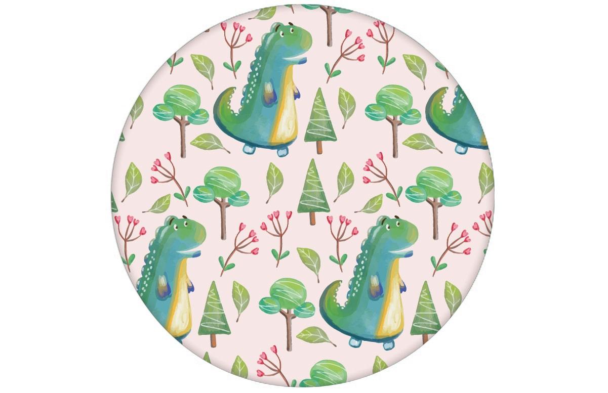 Rosa Kindertapete mit kleinen Drachen im Zauberwald Mädchen Vliestapete