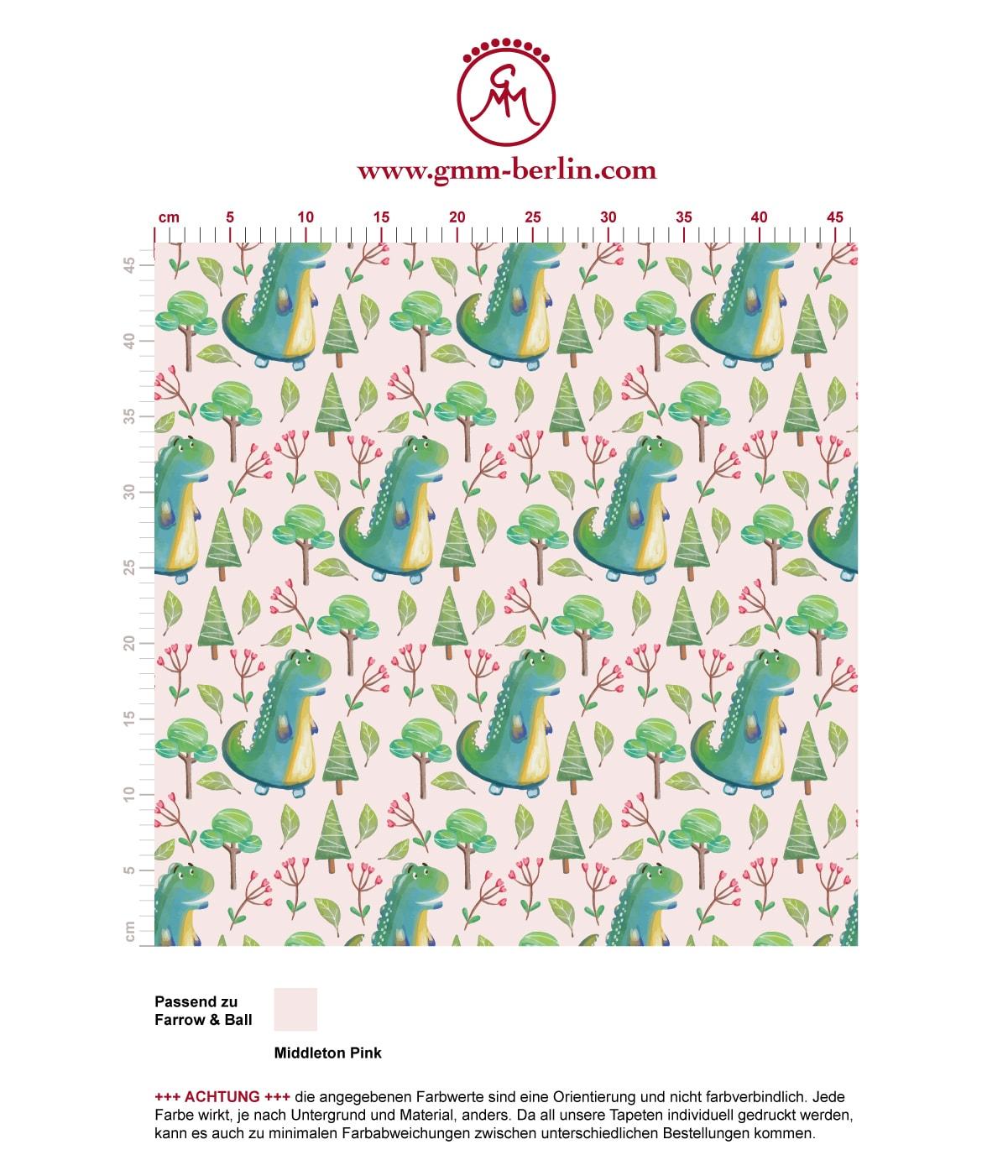 Kinder Tapete mit kleinen Drachen im Zauberwald auf rosa angepasst an Farrow and Ball Wandfarben- Vliestapete Figuren  3