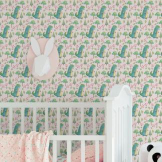 Wandtapete rosa: Kinder Tapete mit kleinen Drachen im Zauberwald auf rosa angepasst an Farrow and Ball Wandfarben- Vliestapete Figuren