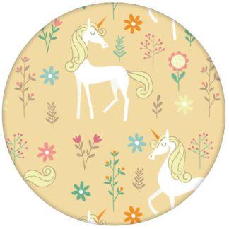 Einhorn Kinderzimmer Tapete mit magischem Einhorn auf gelb Vliestapete Tiere