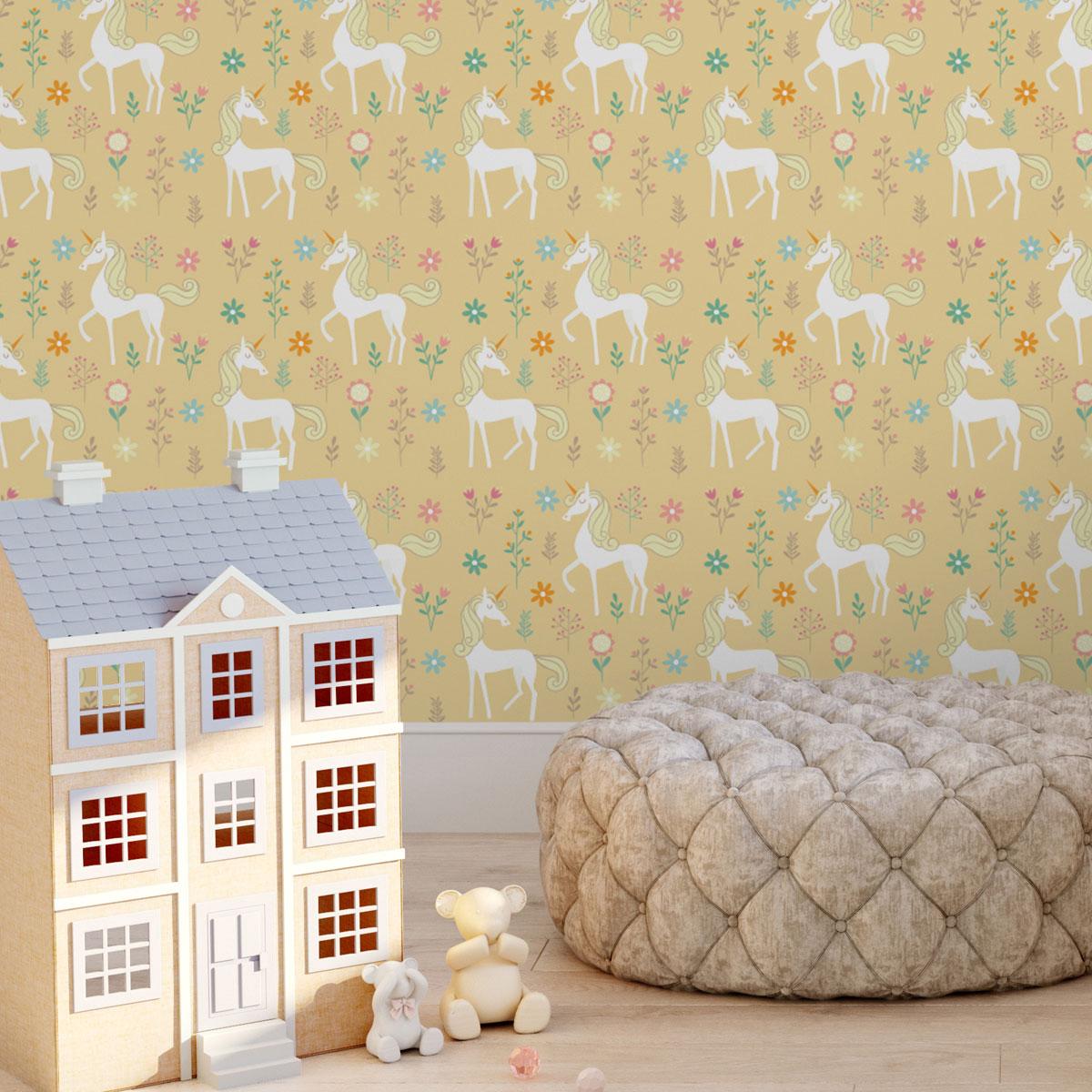 Einhorn Kinderzimmer Tapete mit magischem Einhorn auf gelb angepasst an Farrow and Ball Wandfarben- Vliestapete Tiere